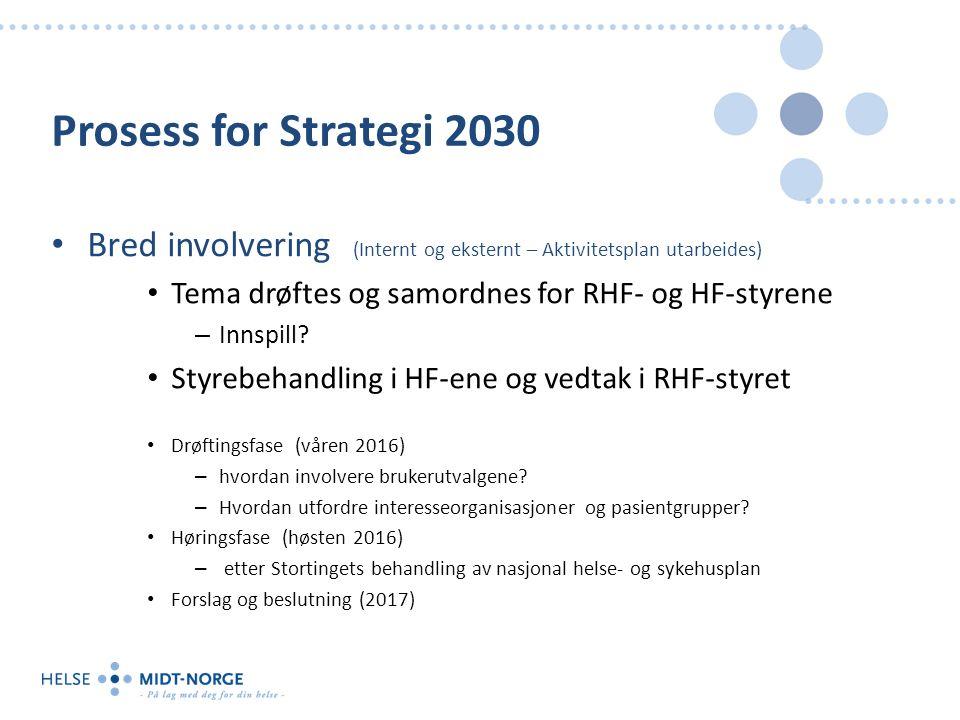 Prosess for Strategi 2030 Bred involvering (Internt og eksternt – Aktivitetsplan utarbeides) Tema drøftes og samordnes for RHF- og HF-styrene – Innspill.