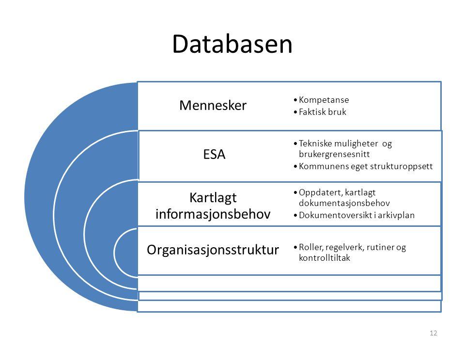 Databasen Mennesker ESA Kartlagt informasjonsbehov Organisasjonsstruktur Kompetanse Faktisk bruk Tekniske muligheter og brukergrensesnitt Kommunens eget strukturoppsett Oppdatert, kartlagt dokumentasjonsbehov Dokumentoversikt i arkivplan Roller, regelverk, rutiner og kontrolltiltak 12