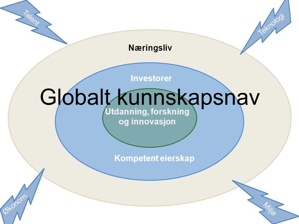 Investorer Kompetent eierskap Utdanning Forskning Innovasjon Globalt kunnskapsnav Talent Teknologi Økonomi Miljø Utdanning, forskning og innovasjon Investorer Kompetent eierskap Næringsliv