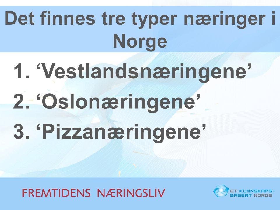 Det finnes tre typer næringer i Norge 1.'Vestlandsnæringene' 2.'Oslonæringene' 3.'Pizzanæringene'