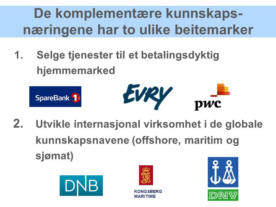 De komplementære kunnskaps- næringene har to ulike beitemarker 1.Selge tjenester til et betalingsdyktig hjemmemarked 2.