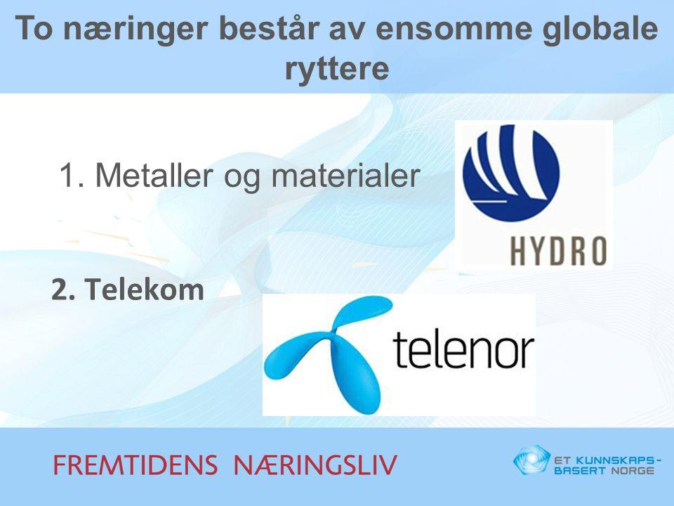 To næringer består av ensomme globale ryttere 1. Metaller og materialer 2. Telekom