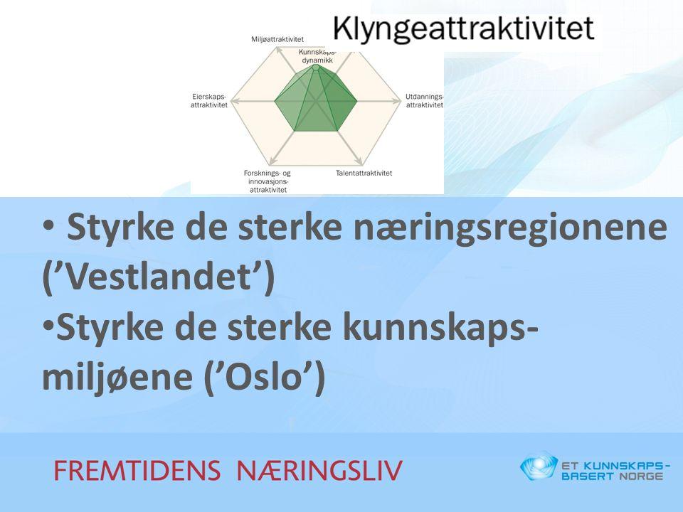 Styrke de sterke næringsregionene ('Vestlandet') Styrke de sterke kunnskaps- miljøene ('Oslo')