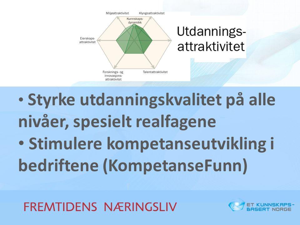 Styrke utdanningskvalitet på alle nivåer, spesielt realfagene Stimulere kompetanseutvikling i bedriftene (KompetanseFunn)