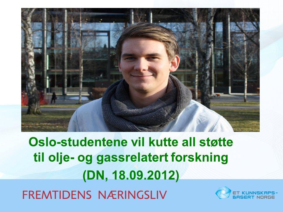 Oslo-studentene vil kutte all støtte til olje- og gassrelatert forskning (DN, 18.09.2012)