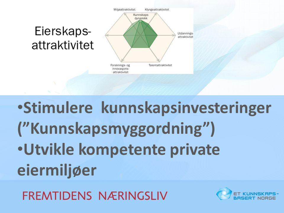 Stimulere kunnskapsinvesteringer ( Kunnskapsmyggordning ) Utvikle kompetente private eiermiljøer