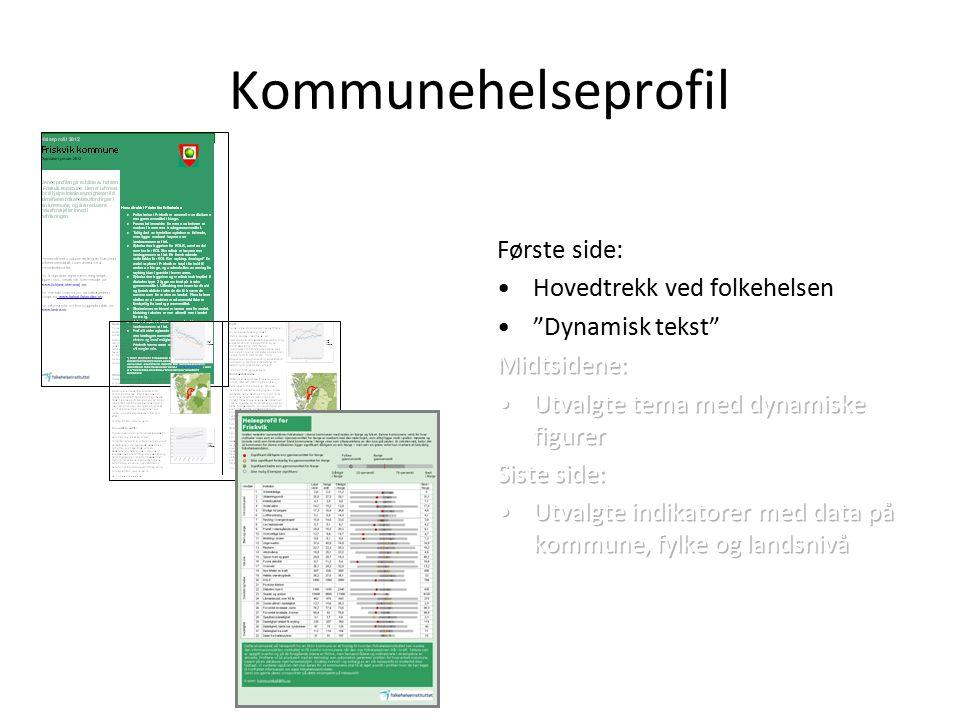 Framdrift Statistikkbank: 1.desember 2011 Kommunehelseprofil: 1.