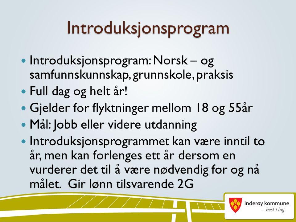 Introduksjonsprogram Introduksjonsprogram: Norsk – og samfunnskunnskap, grunnskole, praksis Full dag og helt år.