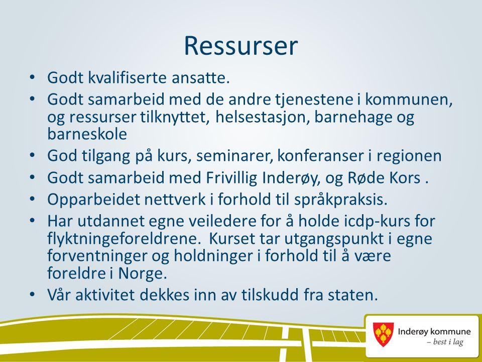 Samarbeid med andre kommuner Rektornettverk (ledere av norskopplæringen for voksne i Nord-Trøndelag) Deltar i årlig samhandlingskonferanse med NAV, videregående opplæring og andre kommuner Vi kjøper grunnskoleplasser i Steinkjer for voksne grunnskoleelever.