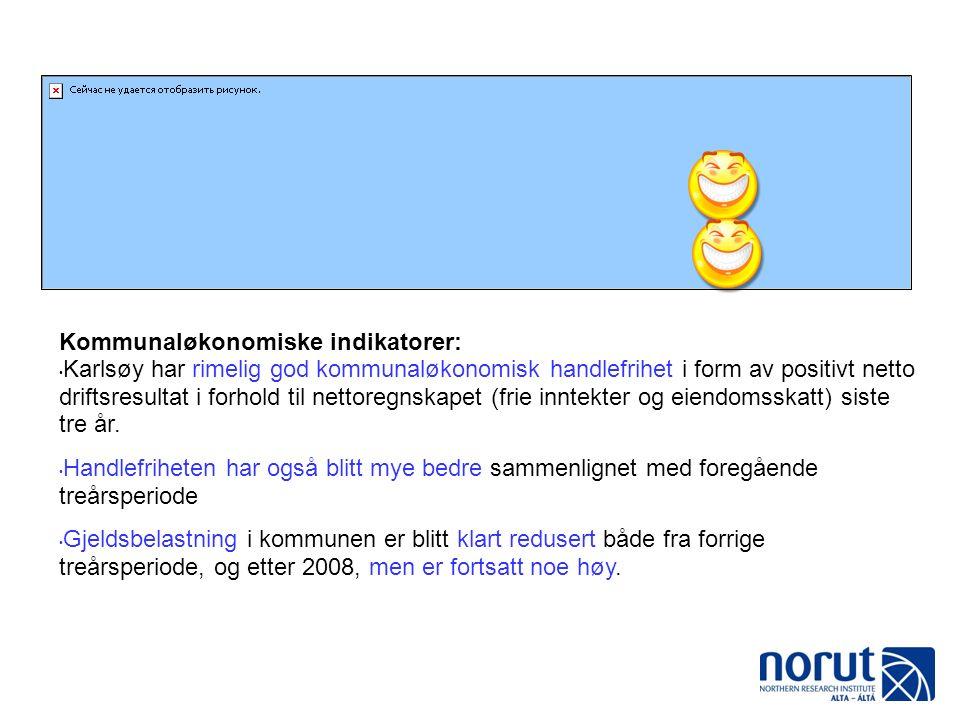 Kommunaløkonomiske indikatorer: Karlsøy har rimelig god kommunaløkonomisk handlefrihet i form av positivt netto driftsresultat i forhold til nettoregnskapet (frie inntekter og eiendomsskatt) siste tre år.