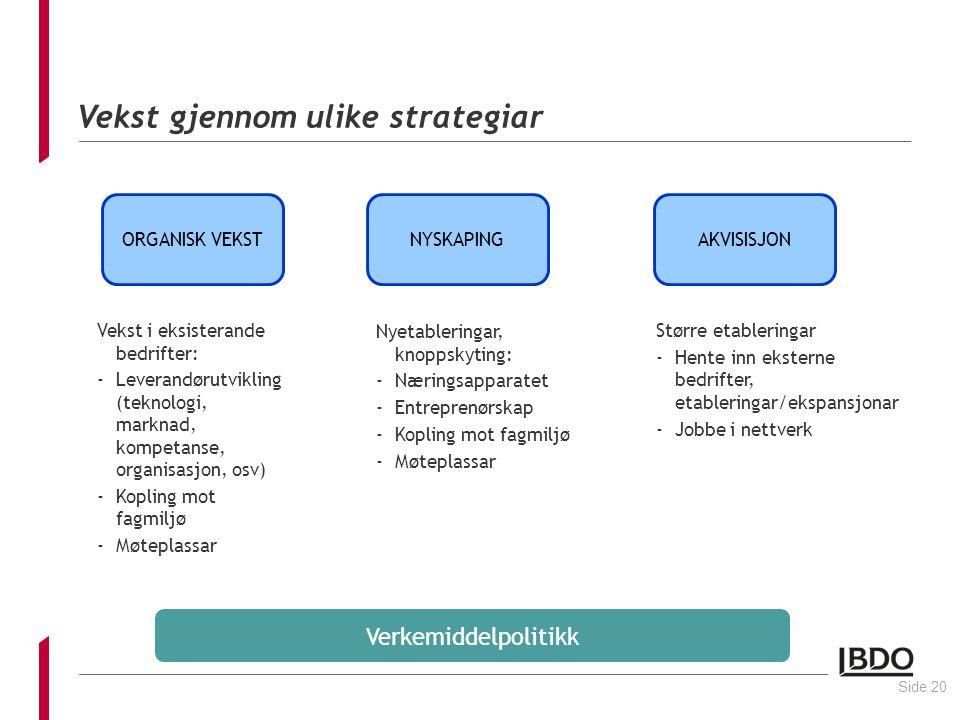 Vekst gjennom ulike strategiar Vekst i eksisterande bedrifter: -Leverandørutvikling (teknologi, marknad, kompetanse, organisasjon, osv) -Kopling mot fagmiljø -Møteplassar Side 20 ORGANISK VEKSTNYSKAPINGAKVISISJON Nyetableringar, knoppskyting: -Næringsapparatet -Entreprenørskap -Kopling mot fagmiljø -Møteplassar Større etableringar -Hente inn eksterne bedrifter, etableringar/ekspansjonar -Jobbe i nettverk Verkemiddelpolitikk