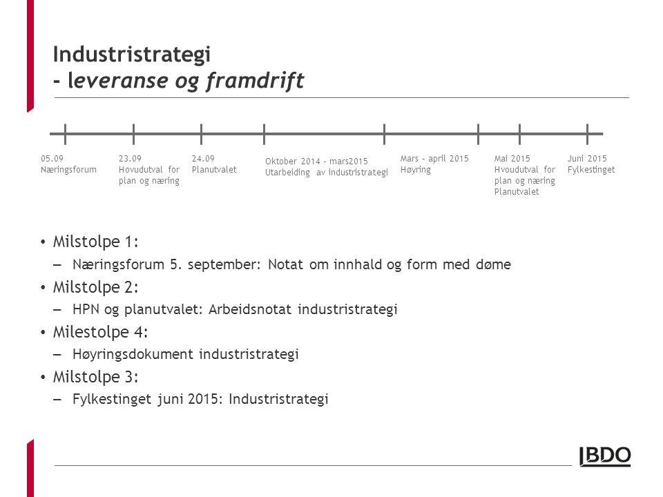 Industristrategi - leveranse og framdrift Milstolpe 1: – Næringsforum 5. september: Notat om innhald og form med døme Milstolpe 2: – HPN og planutvale