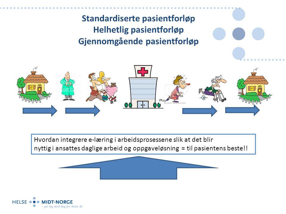 Standardiserte pasientforløp Helhetlig pasientforløp Gjennomgående pasientforløp Hvordan integrere e-læring i arbeidsprosessene slik at det blir nytti