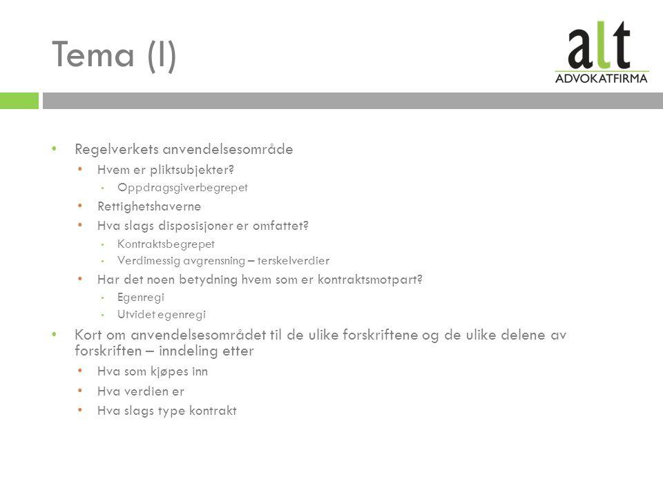 Tema (I) Regelverkets anvendelsesområde Hvem er pliktsubjekter.