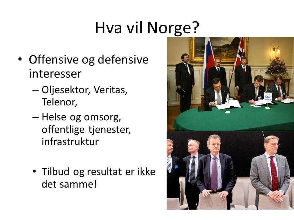 Hva vil Norge? Offensive og defensive interesser – Oljesektor, Veritas, Telenor, – Helse og omsorg, offentlige tjenester, infrastruktur Tilbud og resu