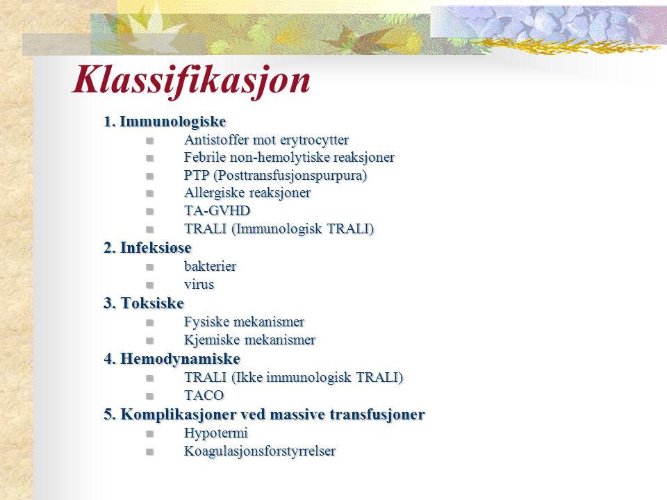 Klassifikasjon 1. Immunologiske Antistoffer mot erytrocytter Antistoffer mot erytrocytter Febrile non-hemolytiske reaksjoner Febrile non-hemolytiske r