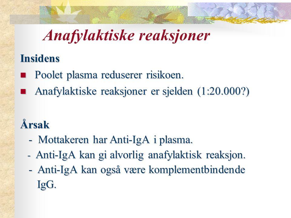 Anafylaktiske reaksjoner Insidens Poolet plasma reduserer risikoen. Poolet plasma reduserer risikoen. Anafylaktiske reaksjoner er sjelden (1:20.000?)