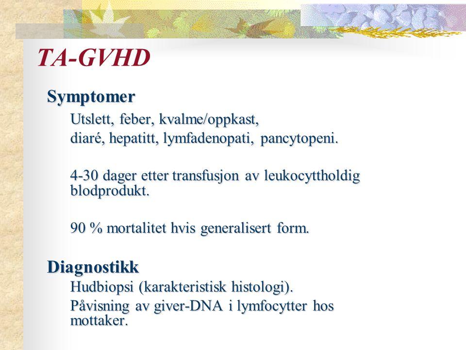 Symptomer Utslett, feber, kvalme/oppkast, diaré, hepatitt, lymfadenopati, pancytopeni.