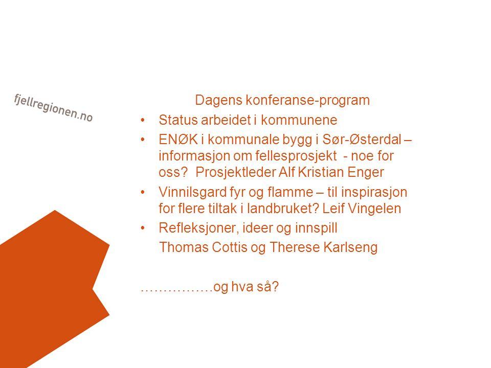 Dagens konferanse-program Status arbeidet i kommunene ENØK i kommunale bygg i Sør-Østerdal – informasjon om fellesprosjekt - noe for oss? Prosjektlede