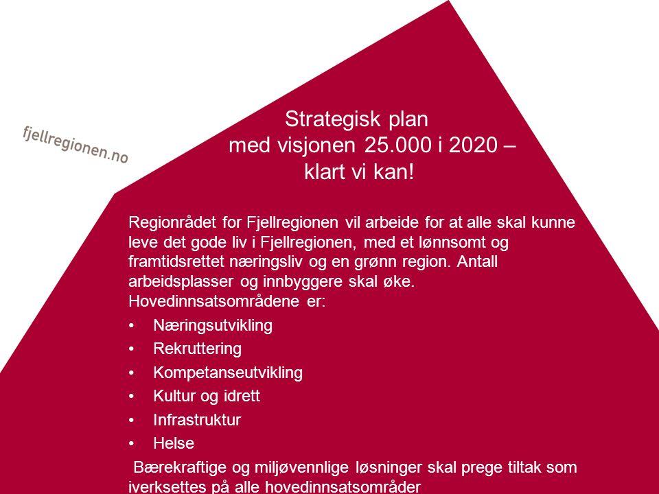 Strategisk plan med visjonen 25.000 i 2020 – klart vi kan! Regionrådet for Fjellregionen vil arbeide for at alle skal kunne leve det gode liv i Fjellr
