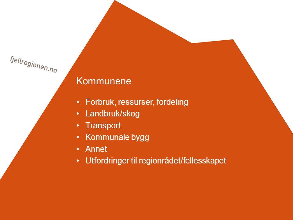 Kommunene Forbruk, ressurser, fordeling Landbruk/skog Transport Kommunale bygg Annet Utfordringer til regionrådet/fellesskapet