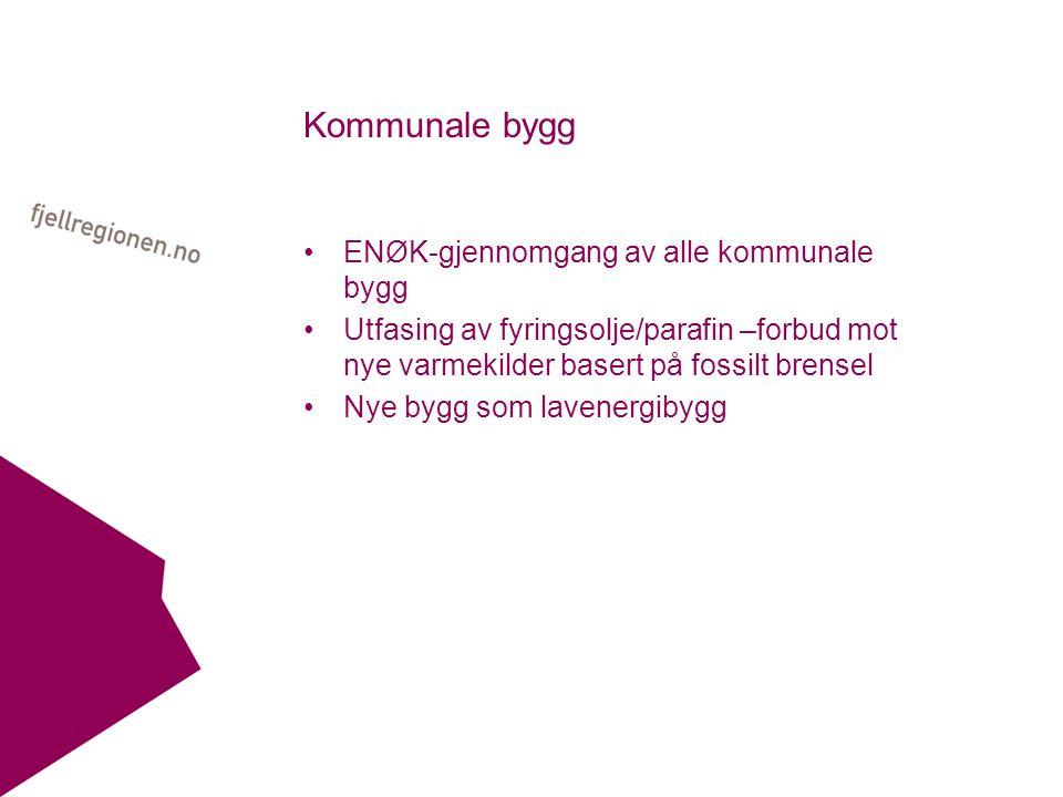 Kommunale bygg ENØK-gjennomgang av alle kommunale bygg Utfasing av fyringsolje/parafin –forbud mot nye varmekilder basert på fossilt brensel Nye bygg som lavenergibygg