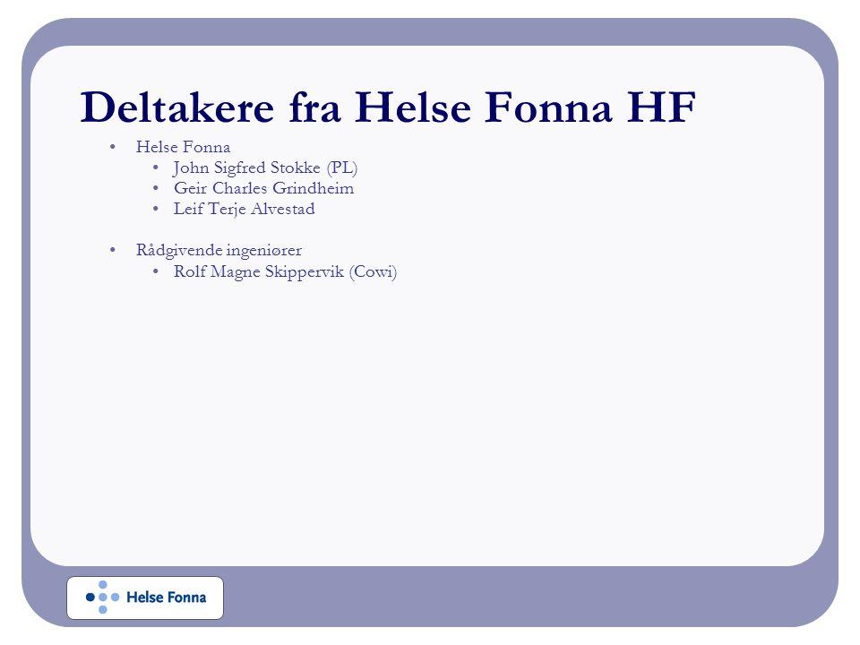 Deltakere fra Helse Fonna HF Helse Fonna John Sigfred Stokke (PL) Geir Charles Grindheim Leif Terje Alvestad Rådgivende ingeniører Rolf Magne Skippervik (Cowi)