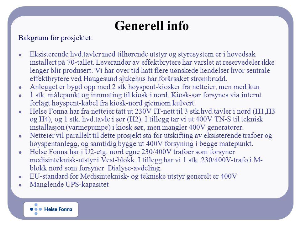 Generell info Bakgrunn for prosjektet: Eksisterende hvd.tavler med tilhørende utstyr og styresystem er i hovedsak installert på 70-tallet.