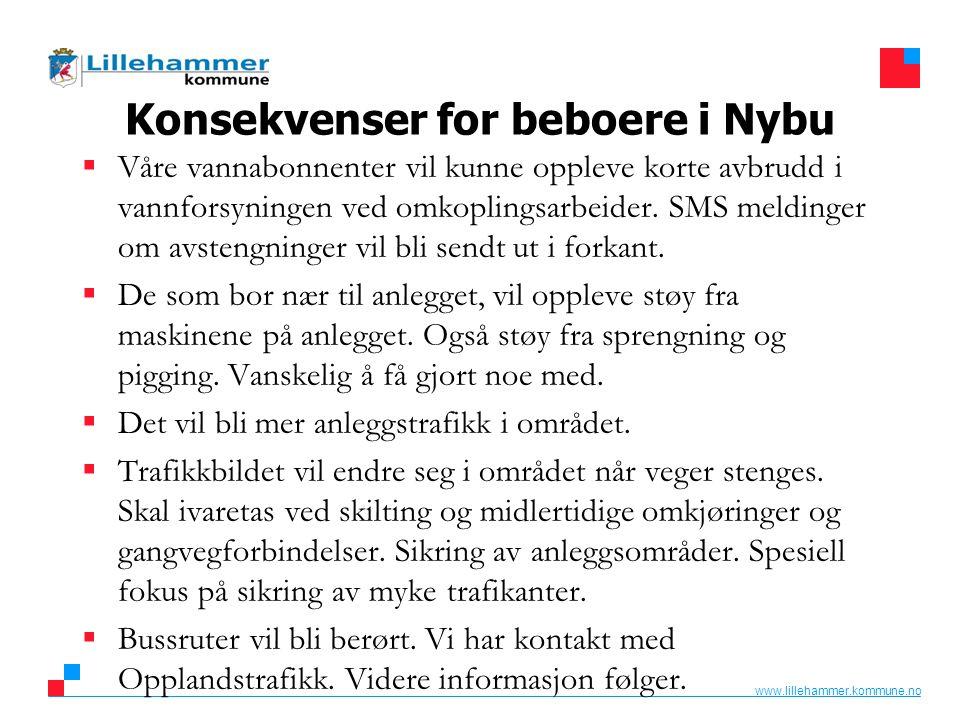 www.lillehammer.kommune.no Konsekvenser for beboere i Nybu  Våre vannabonnenter vil kunne oppleve korte avbrudd i vannforsyningen ved omkoplingsarbei