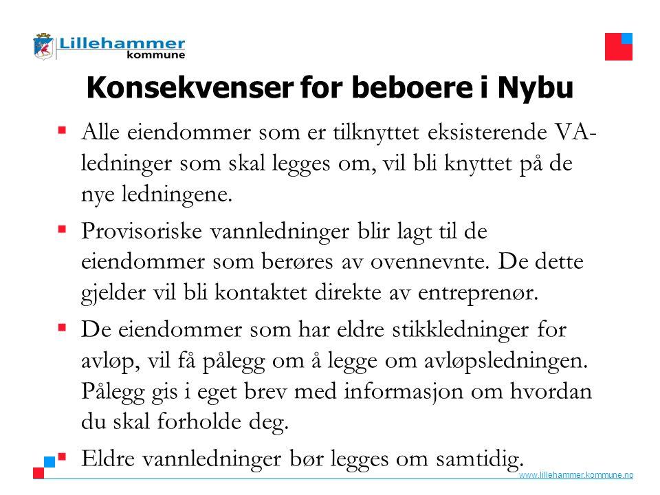 www.lillehammer.kommune.no Konsekvenser for beboere i Nybu  Alle eiendommer som er tilknyttet eksisterende VA- ledninger som skal legges om, vil bli