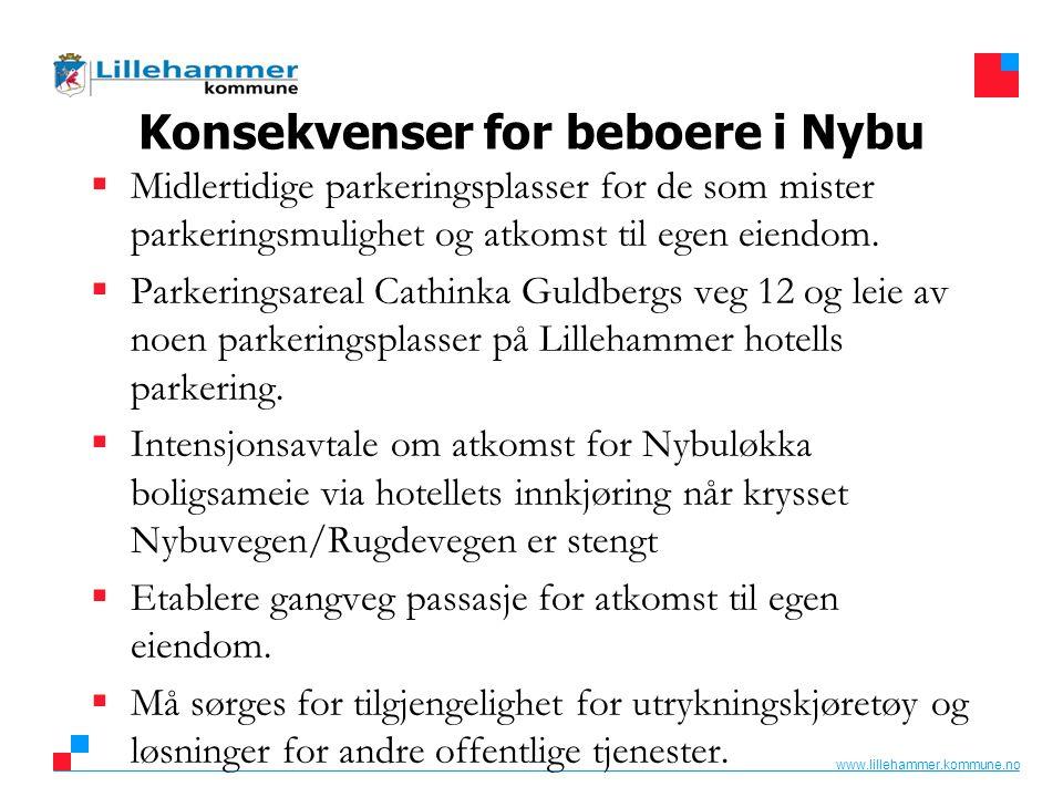 www.lillehammer.kommune.no Konsekvenser for beboere i Nybu  Midlertidige parkeringsplasser for de som mister parkeringsmulighet og atkomst til egen e