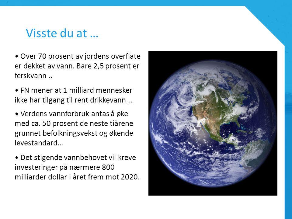 Visste du at … Over 70 prosent av jordens overflate er dekket av vann. Bare 2,5 prosent er ferskvann.. FN mener at 1 milliard mennesker ikke har tilga