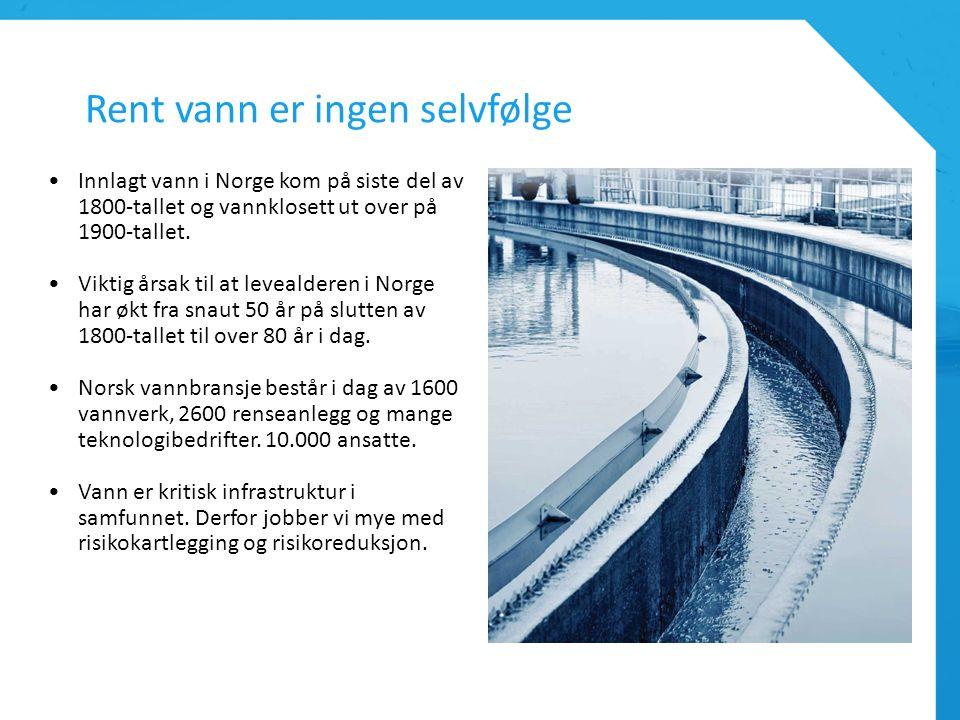 Rent vann er ingen selvfølge Innlagt vann i Norge kom på siste del av 1800-tallet og vannklosett ut over på 1900-tallet. Viktig årsak til at levealder