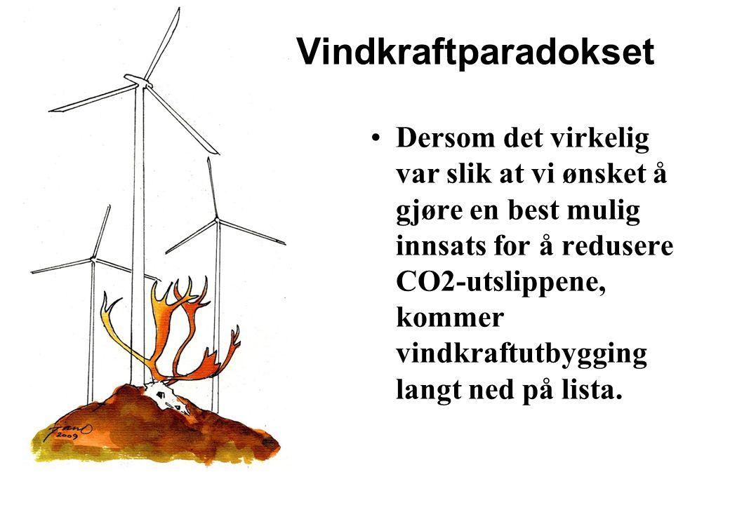 Vindkraftparadokset Dersom det virkelig var slik at vi ønsket å gjøre en best mulig innsats for å redusere CO2-utslippene, kommer vindkraftutbygging langt ned på lista.