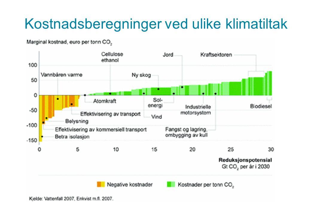 Kostnadsberegninger ved ulike klimatiltak