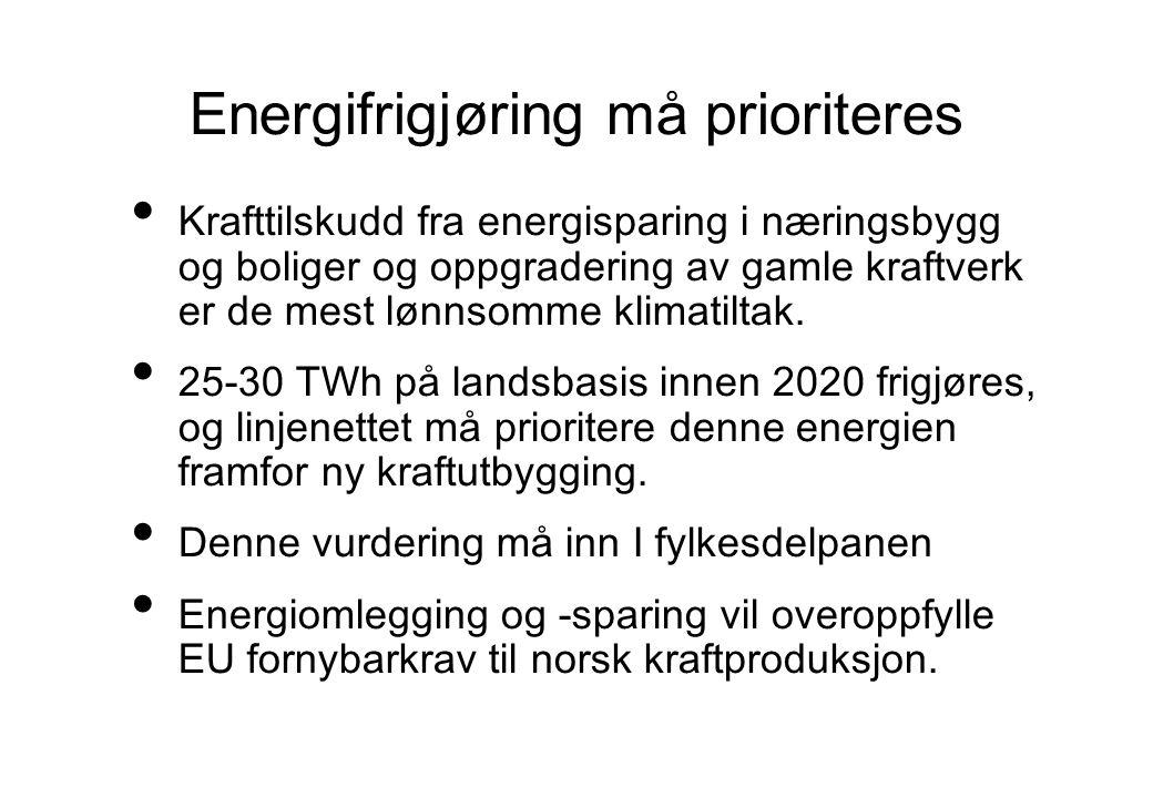 Energifrigjøring må prioriteres Krafttilskudd fra energisparing i næringsbygg og boliger og oppgradering av gamle kraftverk er de mest lønnsomme klima