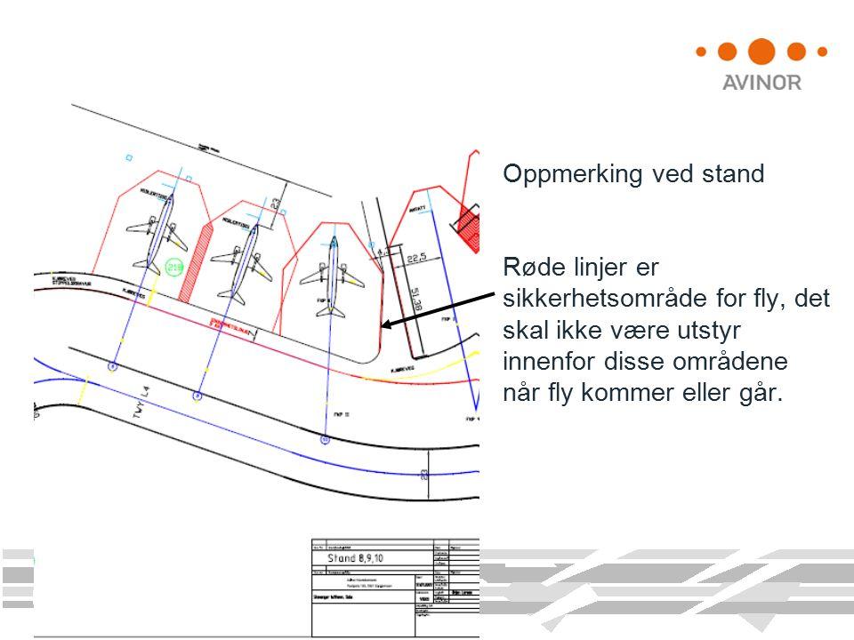 Oppmerking ved stand Røde linjer er sikkerhetsområde for fly, det skal ikke være utstyr innenfor disse områdene når fly kommer eller går.