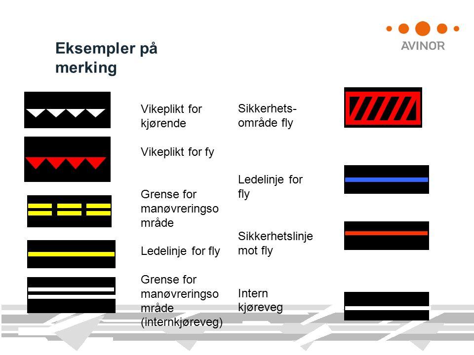 Vikeplikt for kjørende Vikeplikt for fy Grense for manøvreringso mråde Ledelinje for fly Grense for manøvreringso mråde (internkjøreveg) Eksempler på merking Sikkerhets- område fly Ledelinje for fly Sikkerhetslinje mot fly Intern kjøreveg