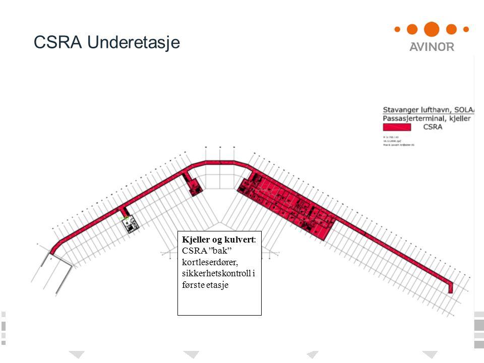 CSRA Underetasje Kjeller og kulvert: CSRA bak kortleserdører, sikkerhetskontroll i første etasje