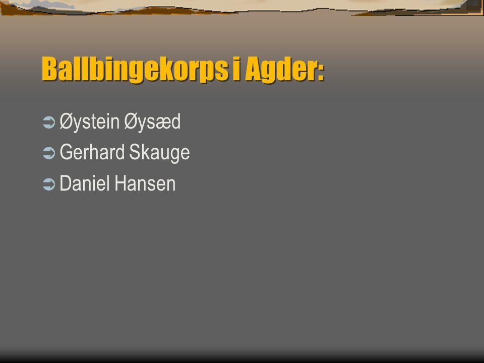Ballbingekorps i Agder:  Øystein Øysæd  Gerhard Skauge  Daniel Hansen