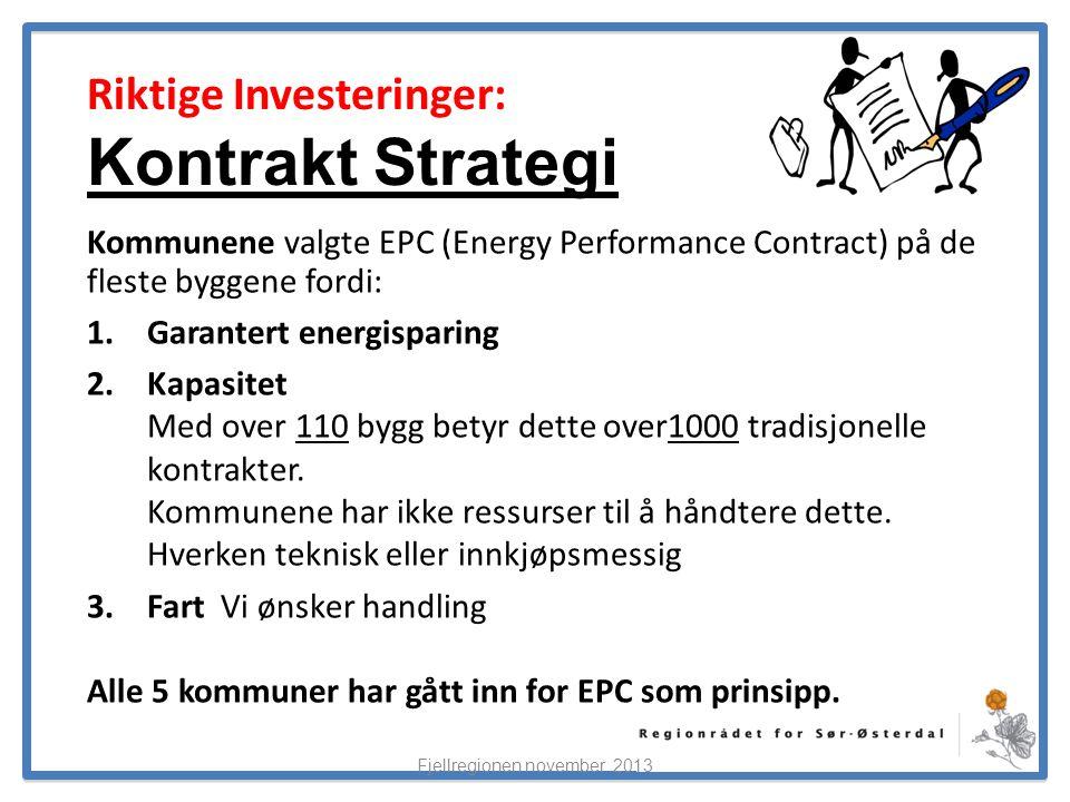 ElverumRegionens NæringsUtvikling Riktige Investeringer: Kontrakt Strategi Kommunene valgte EPC (Energy Performance Contract) på de fleste byggene fordi: 1.Garantert energisparing 2.Kapasitet Med over 110 bygg betyr dette over1000 tradisjonelle kontrakter.