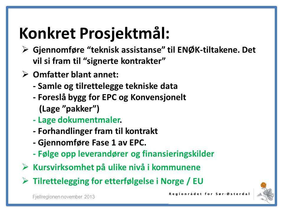 ElverumRegionens NæringsUtvikling Konkret Prosjektmål:  Gjennomføre teknisk assistanse til ENØK-tiltakene.