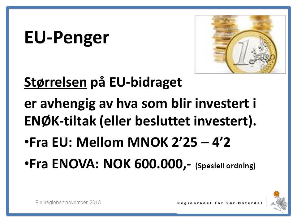 ElverumRegionens NæringsUtvikling EU-Penger Størrelsen på EU-bidraget er avhengig av hva som blir investert i ENØK-tiltak (eller besluttet investert).