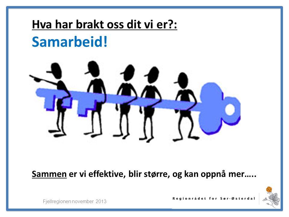 ElverumRegionens NæringsUtvikling Fjellregionen november 2013 Hva har brakt oss dit vi er : Samarbeid.