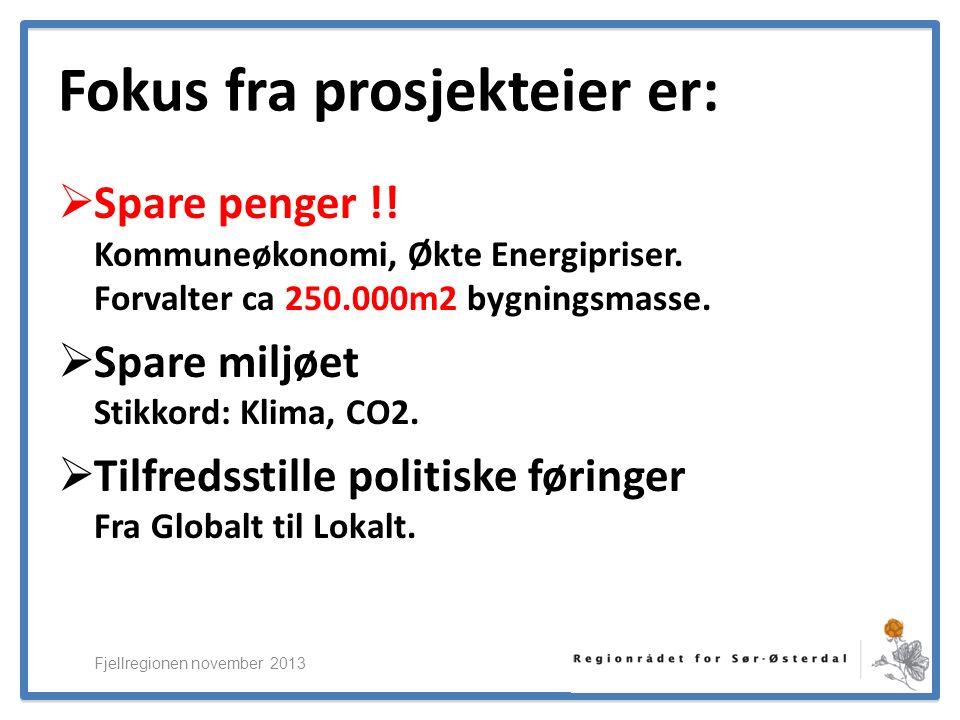 ElverumRegionens NæringsUtvikling Fjellregionen november 2013 Effekter av ENØK-prosjektene i Sør-Østerdal Eksterne Midler til Teknisk assistanse og kompetanse ENOVA-støtte til investeringer ENOVA Forprosjekt kr 500 000,00 Elverum kr 3 800 000,00Innvilget ENOVA EU-søknad kr 100 000,00 Engerdal kr 919 000,00Innvilget ENOVA EU-prosjektet kr 600 000,00 Stor-Elvdal kr 2 027 000,00Innvilget Fylkesmannen kr 50 000,00 Trysil kr 2 555 000,00Innvilget FEM II kr 350 000,00 Åmot kr 2 155 000,00Innvilget Grønne prosjekt (KS og Regionrådet) kr 700 000,00 Hedmark Fylke kr 500 000,00I prosess ERNU kr 75 000,00 Elverum gatelys kr 1 000 000,00I prosess Sum Norske midler kr 2 375 000,00 SUM ENOVA kr 12 956 000,00 Fra EU: Bestillinger til lokalt næringsliv (antatt) ENSAMB (lite forb.