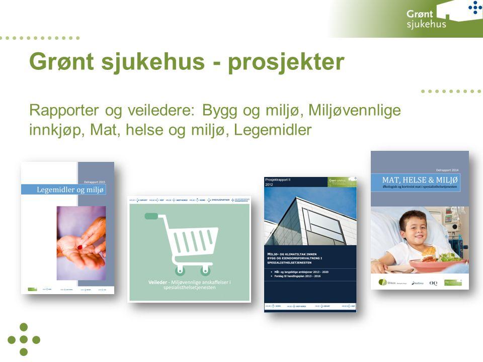 Rapporter og veiledere: Bygg og miljø, Miljøvennlige innkjøp, Mat, helse og miljø, Legemidler Grønt sjukehus - prosjekter