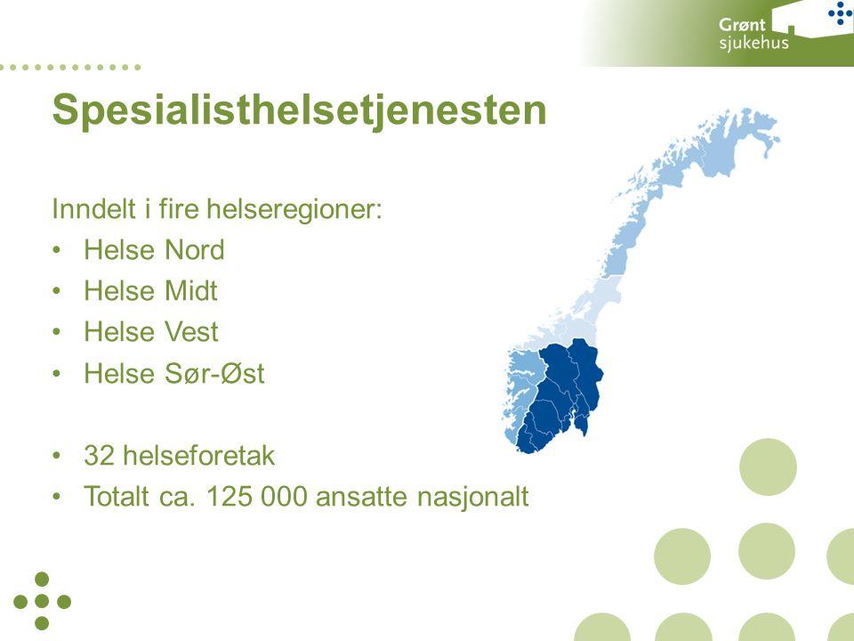 Inndelt i fire helseregioner: Helse Nord Helse Midt Helse Vest Helse Sør-Øst 32 helseforetak Totalt ca.