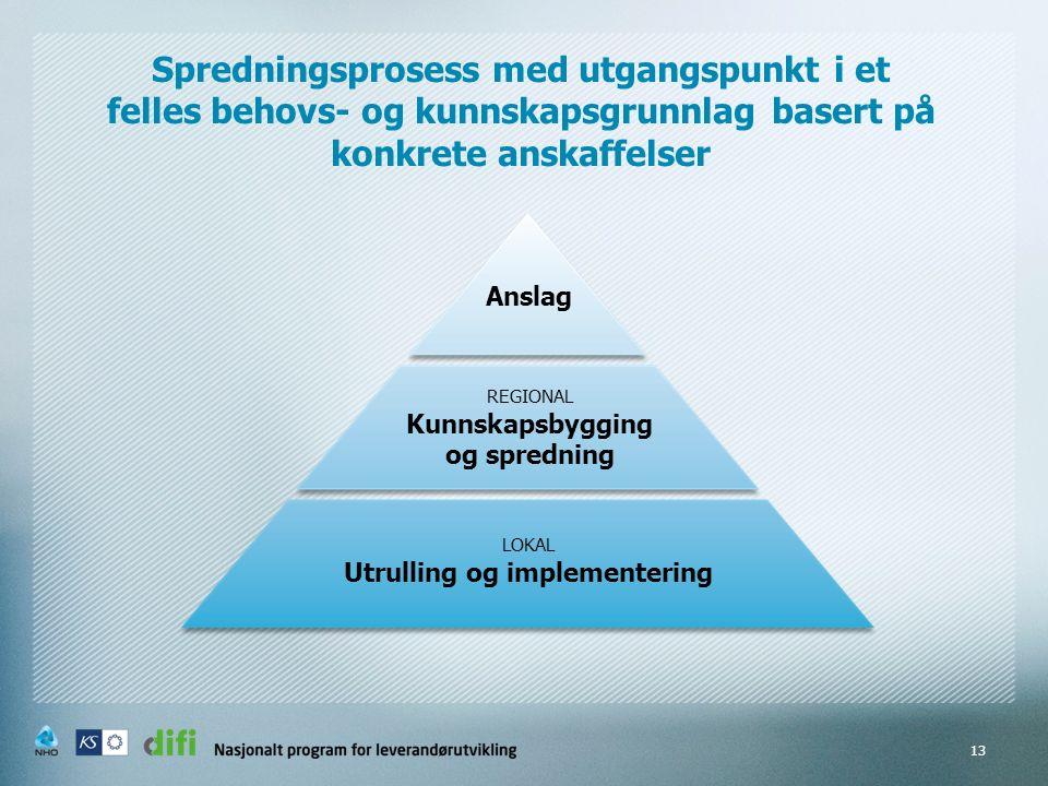 13 Spredningsprosess med utgangspunkt i et felles behovs- og kunnskapsgrunnlag basert på konkrete anskaffelser Anslag REGIONAL Kunnskapsbygging og spredning LOKAL Utrulling og implementering