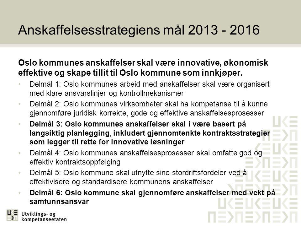 Anskaffelsesstrategiens mål 2013 - 2016 Oslo kommunes anskaffelser skal være innovative, økonomisk effektive og skape tillit til Oslo kommune som innkjøper.