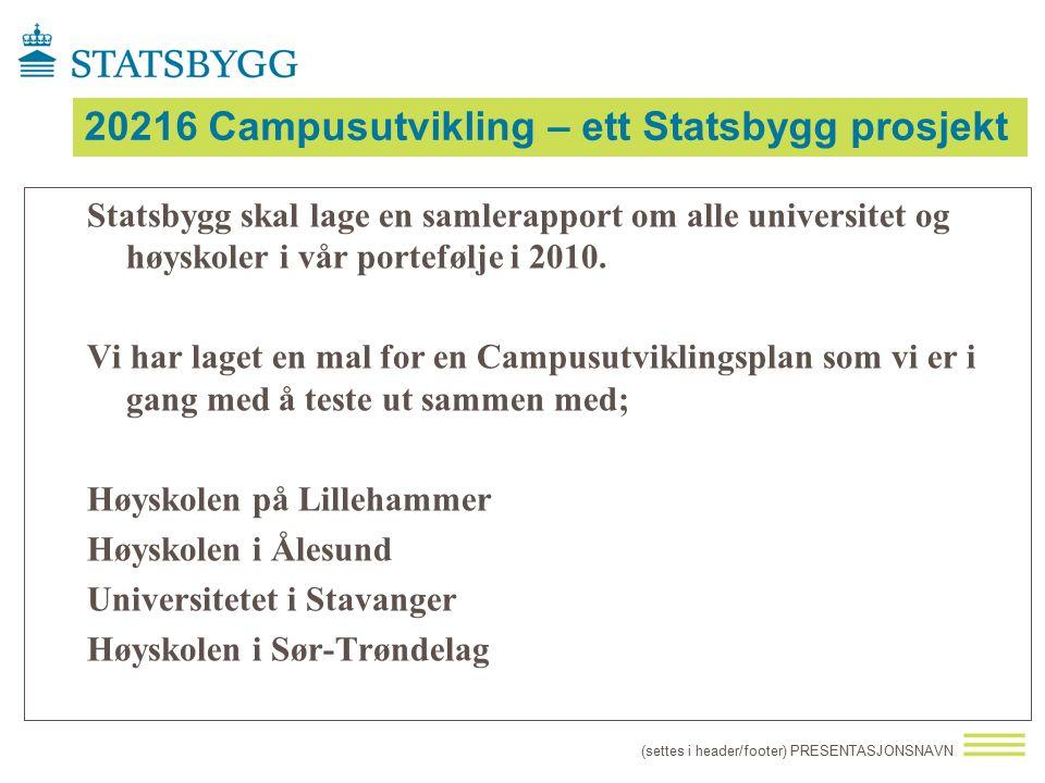 20216 Campusutvikling – ett Statsbygg prosjekt Statsbygg skal lage en samlerapport om alle universitet og høyskoler i vår portefølje i 2010. Vi har la